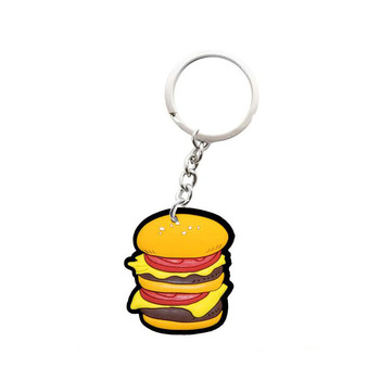 Custom made rubber hamburger keychain soft pvc souvenir keychain