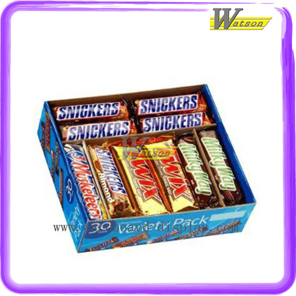 Fashion Chocolate Energy Bars Printed Paper Counter Display Case