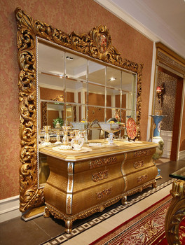 French Rococo Style Luxury Golden Wood Carving Buffet Cupboard Cabinet /  Royal Palace Home Decorated Sideboard