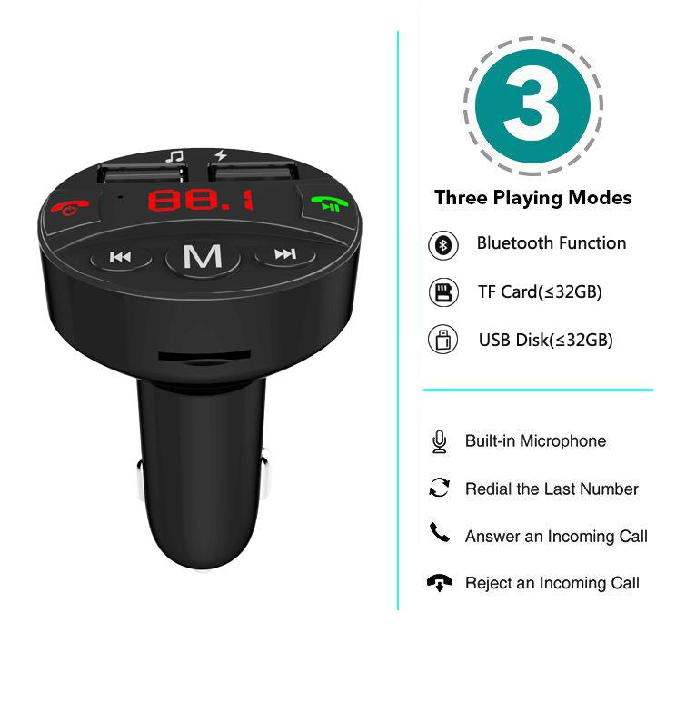 Di vendita calda di Bluetooth Trasmettitore FM, wireless in-Car Trasmettitore FM Radio Adapter Hands Free Car Kit con 5 V/2.1A USB Caricabatteria Da Auto