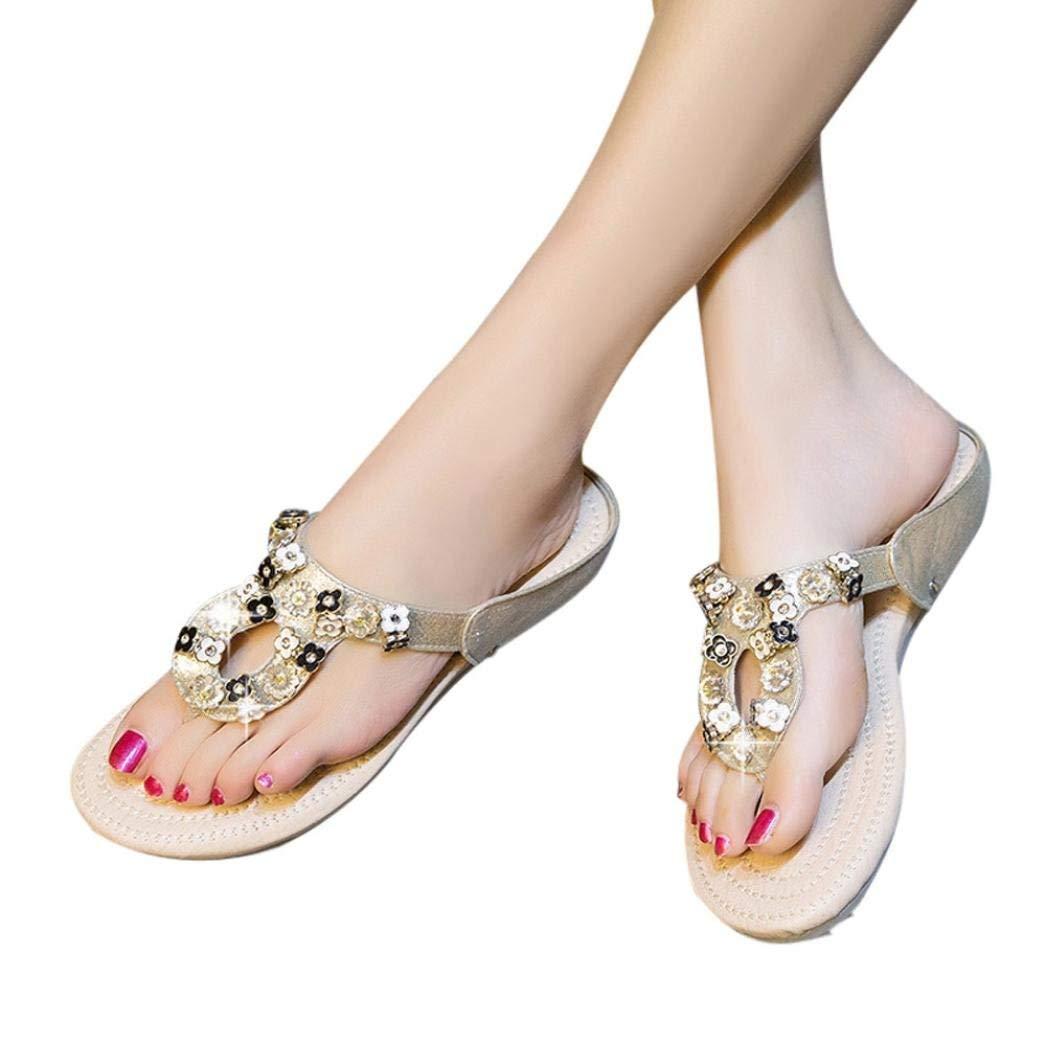 04c0bcac8f8b56 Flat Thong Sandals - Casual Flower Rhinestone Flip Flops for Ladies Women  Teens
