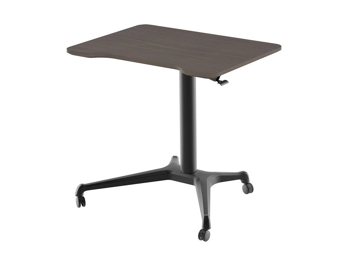 Monoprice Gas-Lift Height Adjustable Sit-Stand Rolling Laptop Riser Desk - Dark Walnut - 24 inch Table Top Dual Monitor Workstation| Easy to Use, Compatible with Most Desks
