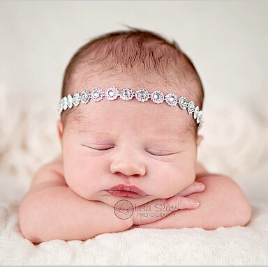 Newborn Tie Back Crystal Headbands Bling Rhinestone
