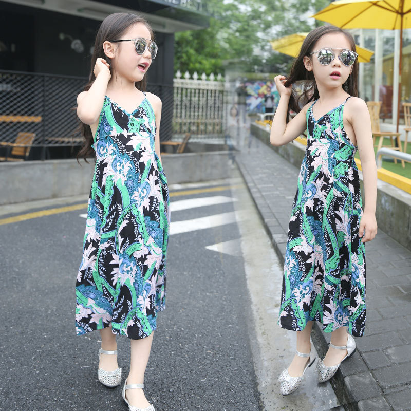 YDA3276summer children dress 2017 sleeveless beach kid dress
