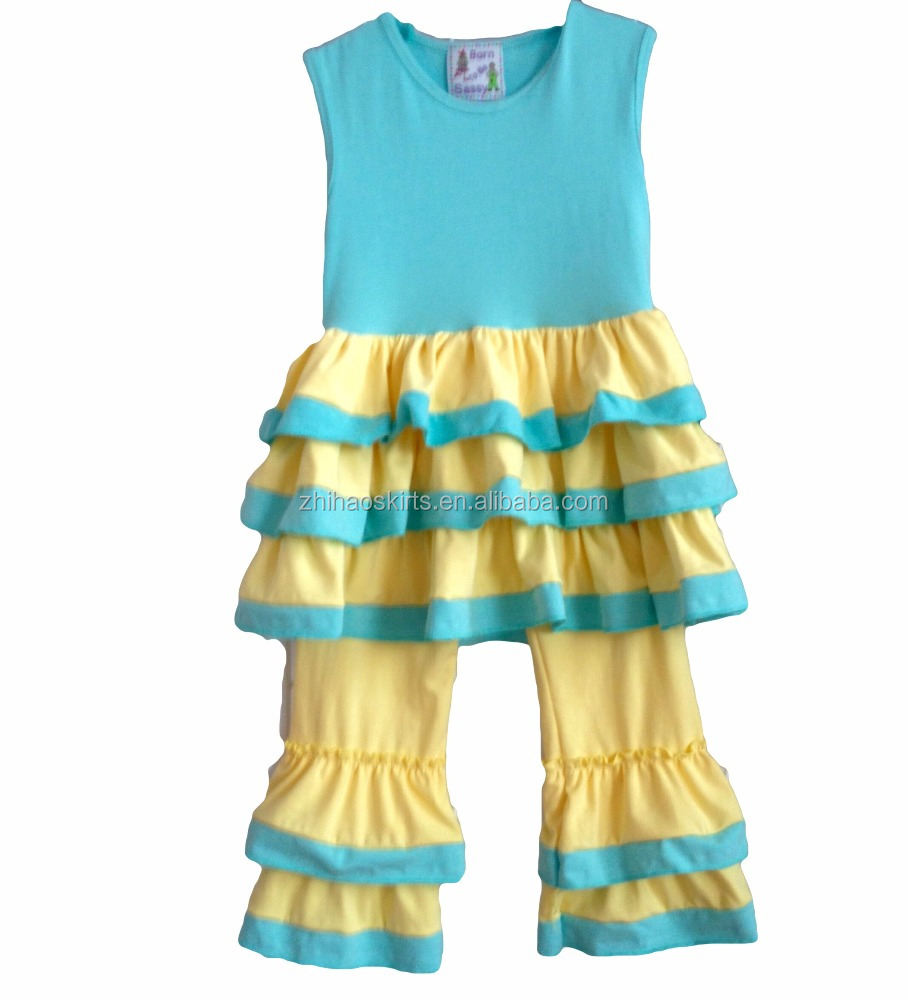 children clothes sleeveless light blue and yellow color bulk wholesale kids clothing multilayer ruffles children clothing 2017