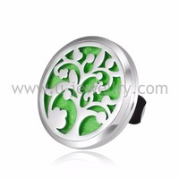 Vent Car Air Freshener Aromatherapy Essential Oil Diffuser, Tree of Life Stainless Steel Locket