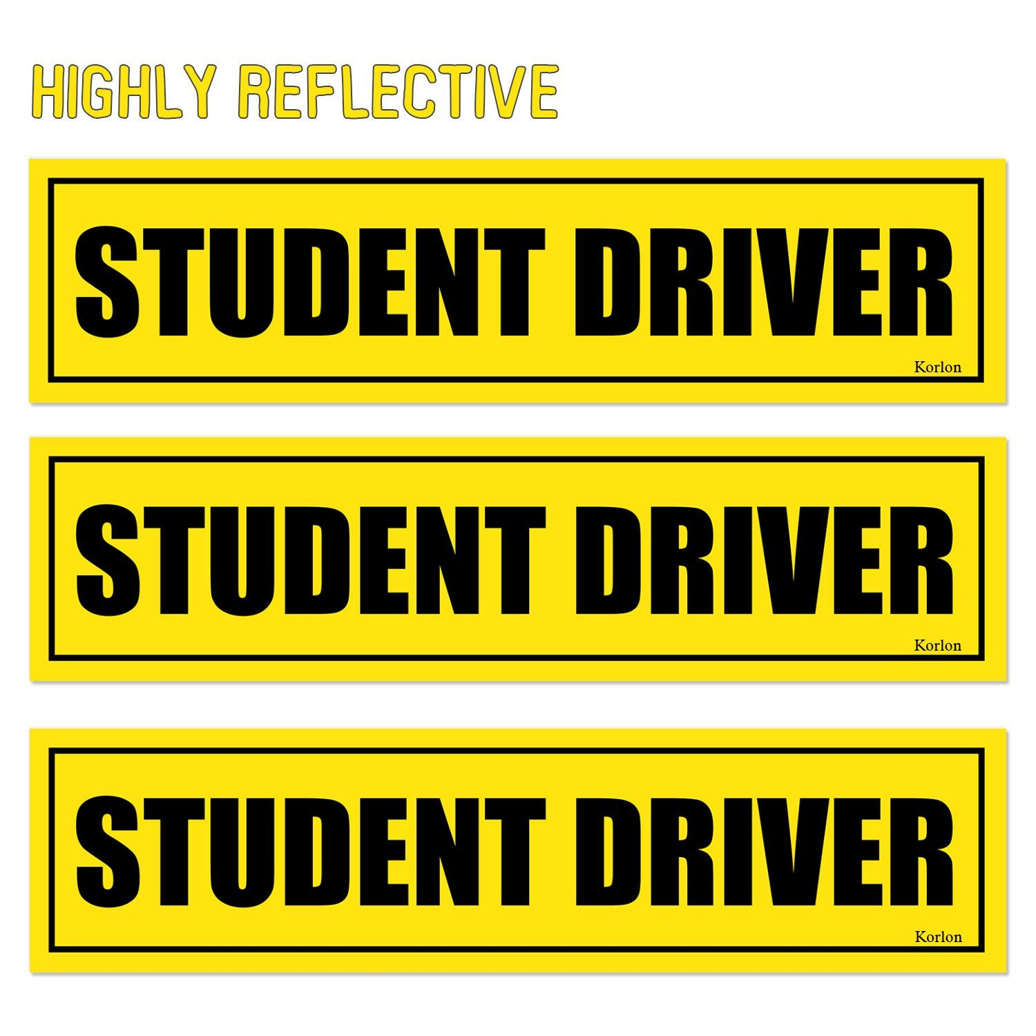 Korlon 3 pack effective car bumper decal vinyl stickers reflective student driver magnetic car safety
