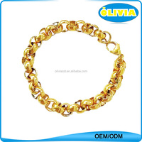 New Fashionable 18k Gold Stainless Steel 9mm Thick Rolo Chain Bracelet for Men