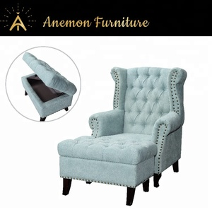 [Anemon Furniture] Riveted Ancient American Chesterfield Armchair with Stool for Villa, Hotel, and Living Room GAM101