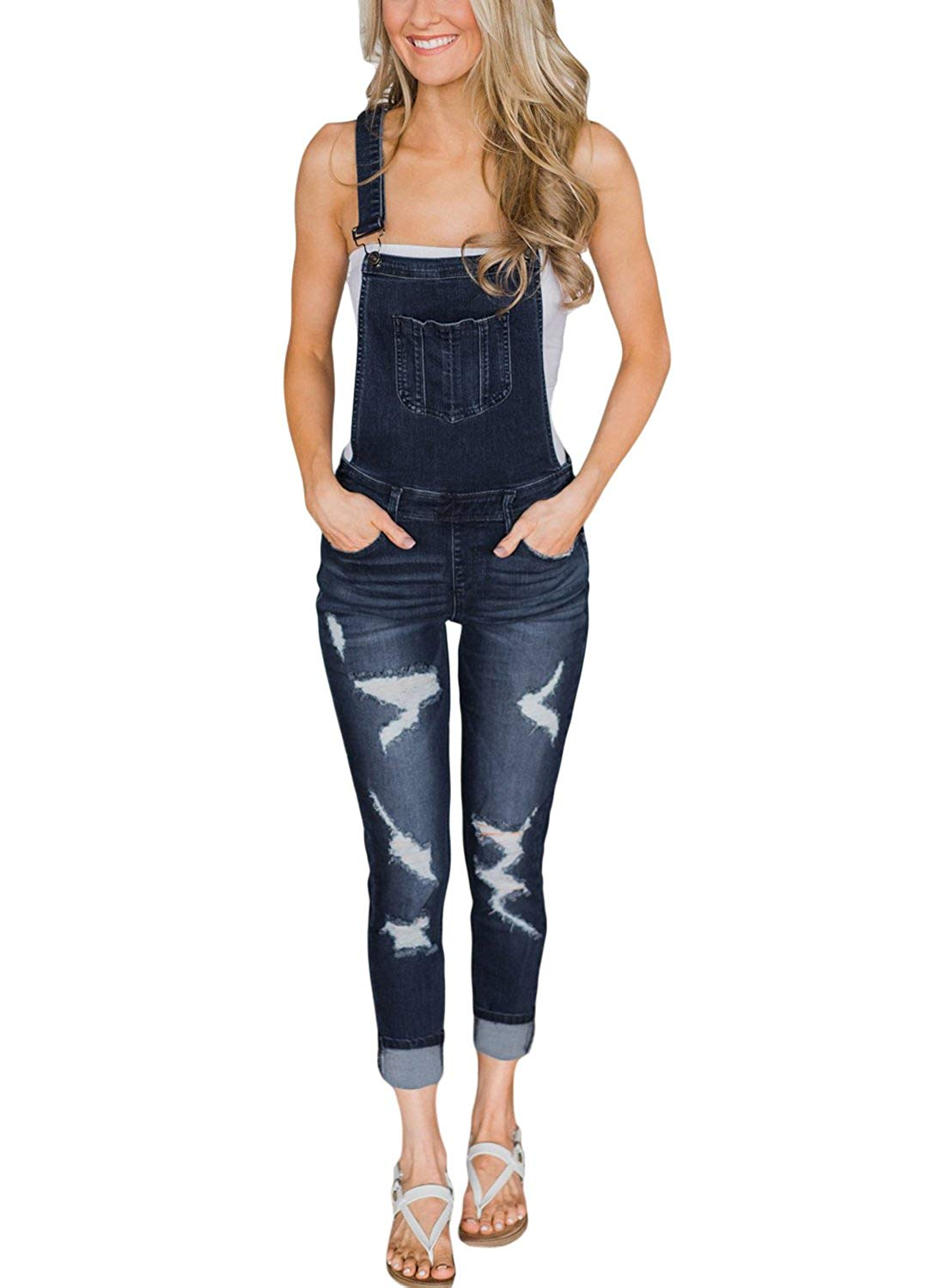 47649d2087 Get Quotations · GOSOPIN Women Juniors Fitted Distressed Denim Jeans  Stretch Overalls Jumpsuits