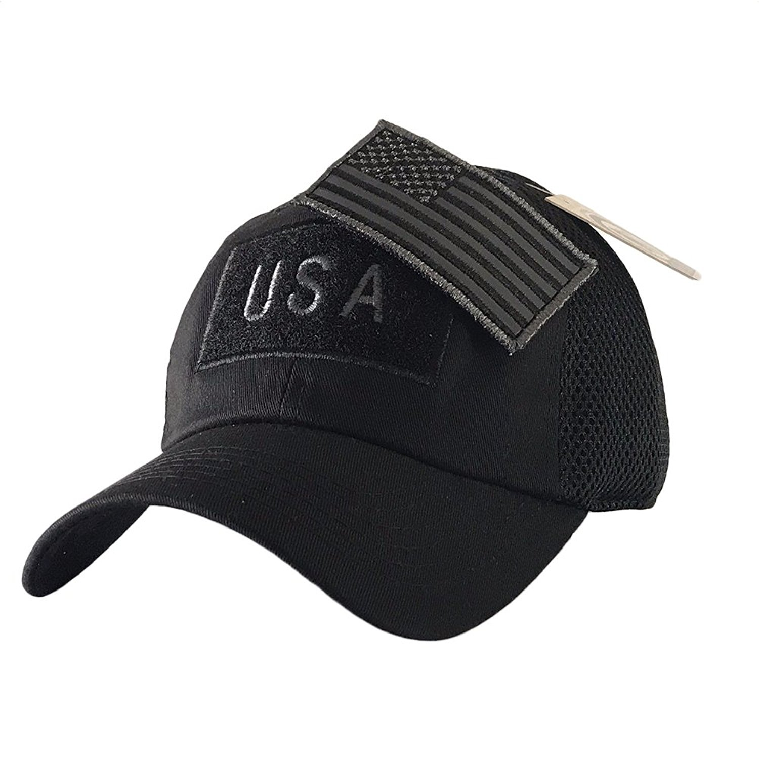 Get Quotations · The Hat Jungle USA American Flag Patch Tactical Hat Mesh  Back Adjustable Baseball Cap d335422a089