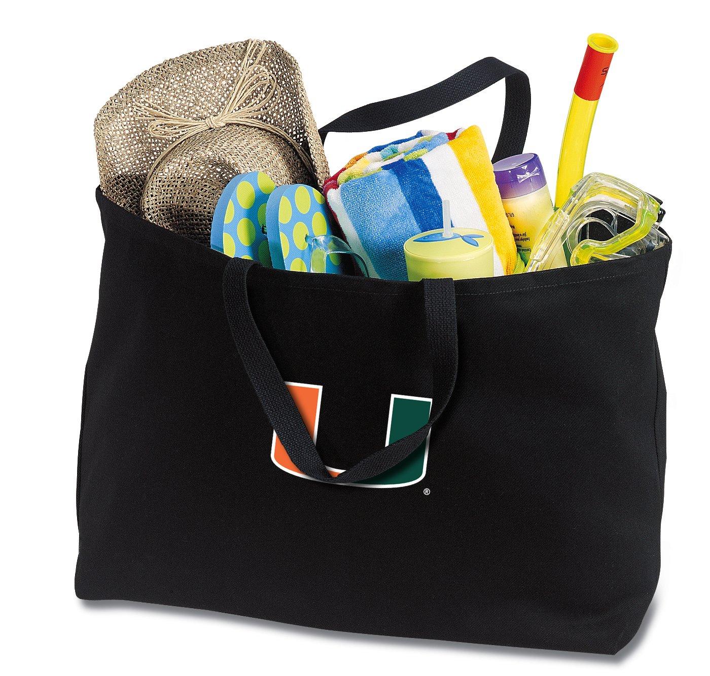 JUMBO Miami Canes Tote Bag or Large Canvas University of Miami Shopping Bag