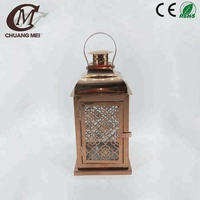 Popular Golden Stainless steel candle lanterns gold wedding candle lantern