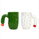Hot Selling Novelty Ceramic Handcrafted Cactus Tea Cup Ceramic Travel Mugs Wholesale