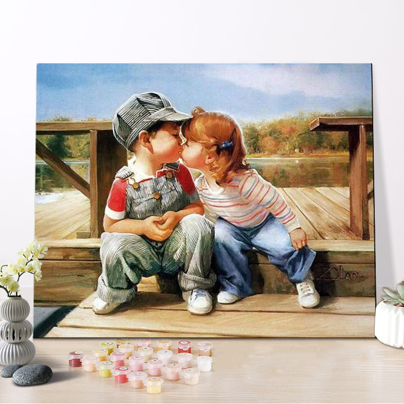 CHENISTORY DZ1143 Oil Picture Painting By Numbers First Kiss On Canvas With Frame For Wholesale