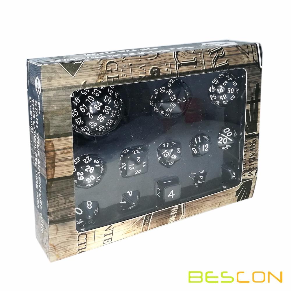 Bescon Complete Polyhedral Dice Set 13pcs D3-D100, 100 Sides Dice Set Opaque Black фото