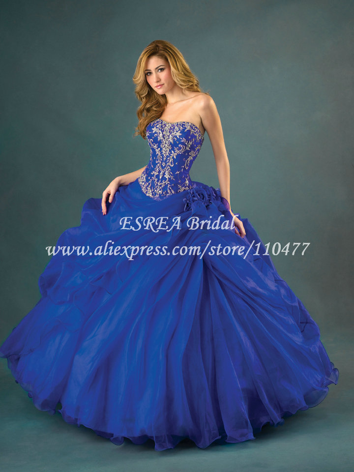 Charming Silver Appliqued Organza Royal Blue Quinceanera ...