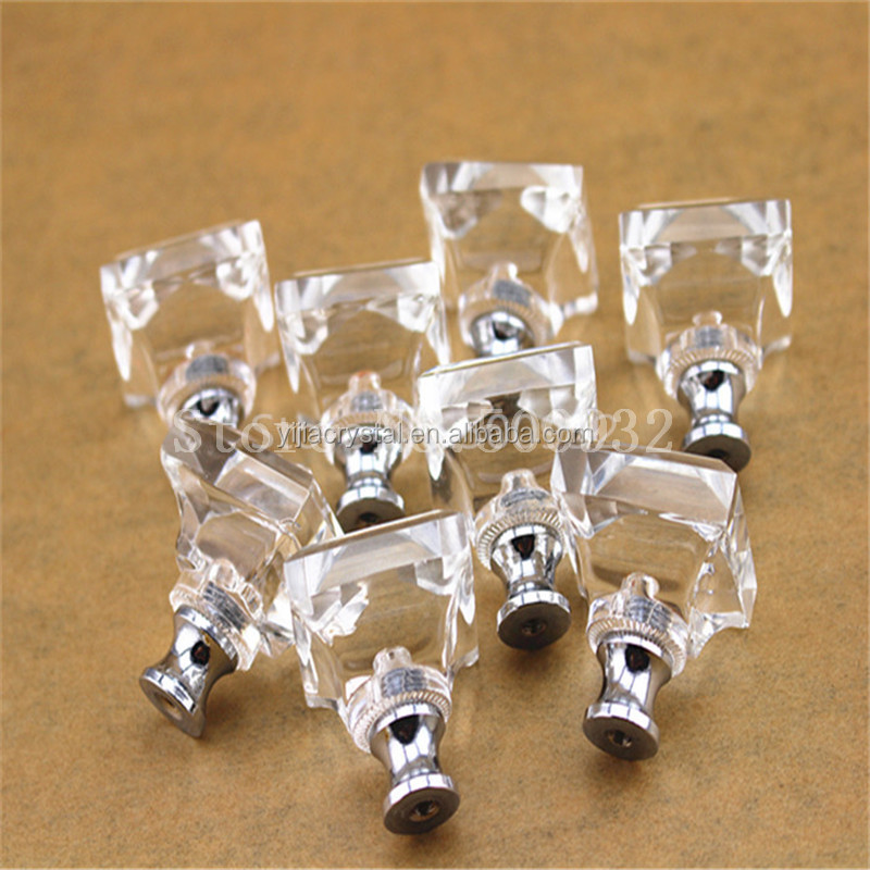 30mm Square shape crystal cabinet knobs drawer pull <strong>handle</strong> DIY include screw