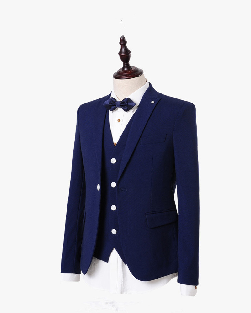 2015 terno royal blue tuxedos party slim fit homme men suits with pants marriage wedding groom blazer 3 piece jacket+pants+vest