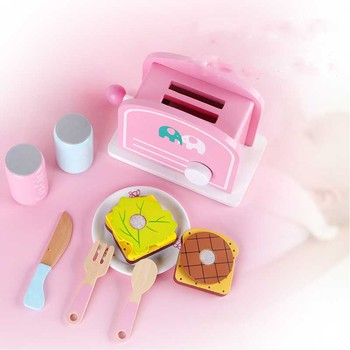Mini kitchen cooking rice toy girl small kitchen utensils toast cooking food play set wooden toys for kids