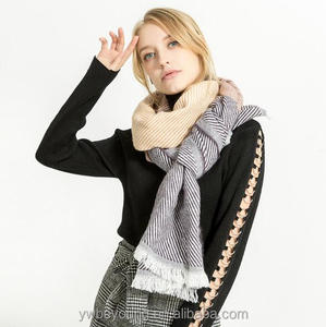 Lady winter stitching color strip wool scarf