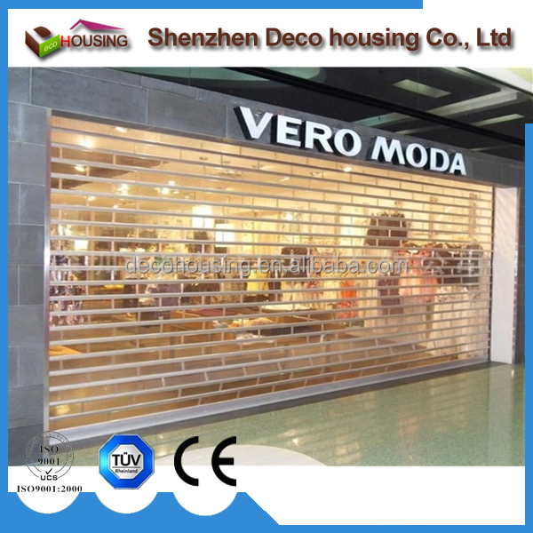 Commercial panoramic polycarbonate rolling shutters motorized PVC roller shutter