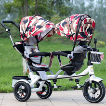 2018 new model baby tricycle stroller rotate seat tricycle double for twins