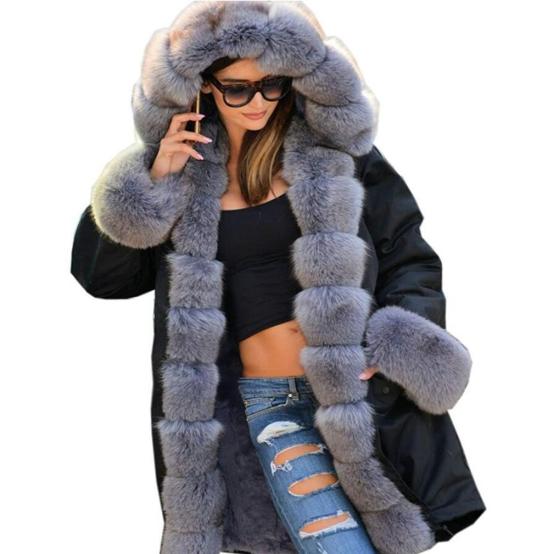 6Color S-5XL Plus Size Women Clothing Thick Hooded Coats Luxury Fur Collar Parkas Winter Warm Coat Fashion Lady Outwear фото
