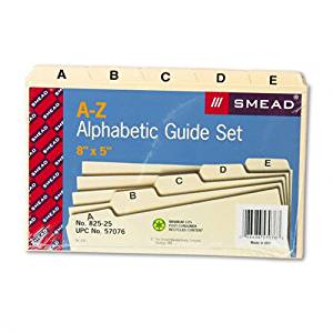 Smead Products - Smead - Self-Tab Card Guides, Alpha, 1/5 Tab, Manila, 5 x 8, 25/Set - Sold As 1 Set - Ideal for desktop reference files, account lists, patient or customer lists. - Tabs in assorted positions. - Durable 18 pt. Manila.