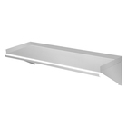 Wall Installed Stainless Steel Shelf With Brackets and Round Edge