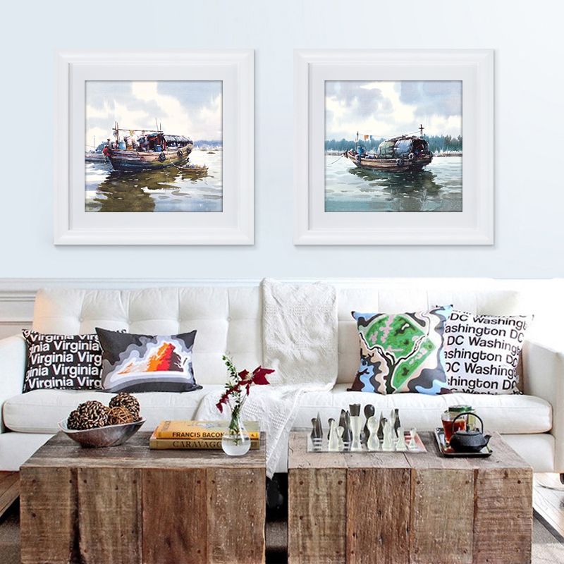 Sea And Boat Scenery Pop Art Oil Painting For Decor