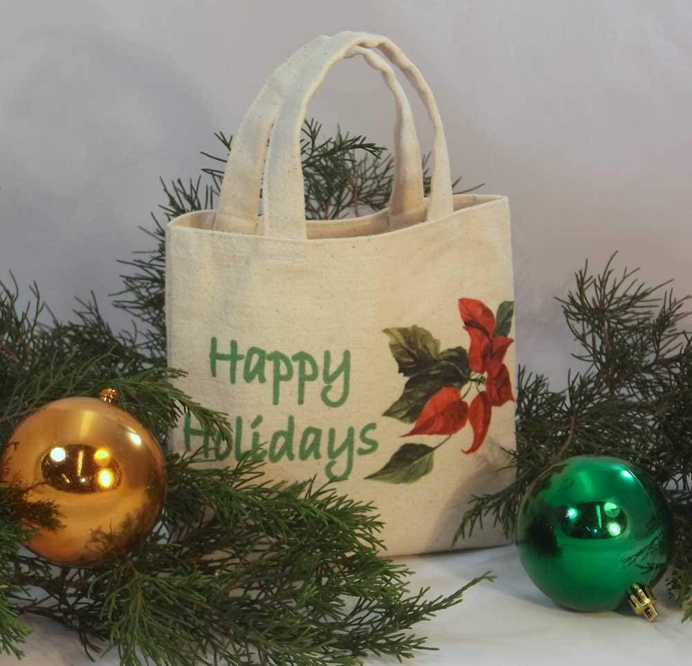 "CHRISTMAS GIFT BAG Tiny Mini Tote Reusable Gift Bag, vibrantly printed crisp natural color canvas Christmas Designs, Tiny Tote Size: 7.25"" tall x 7.75"" wide with 1"" gusset."