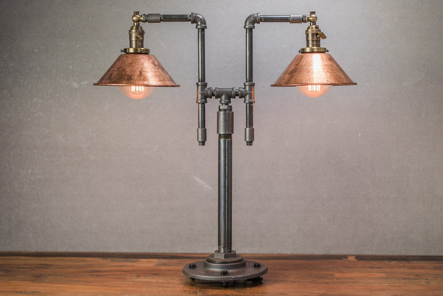 Industrial Table Lamp   Edison Table Lamp   Copper Shades