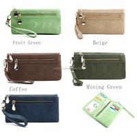Lady Wallets Dull Polish Leather Wallet Double Zipper Day Clutch Purse Wristlet Portefeuille Carteir Phone Purse (BXJ1732)