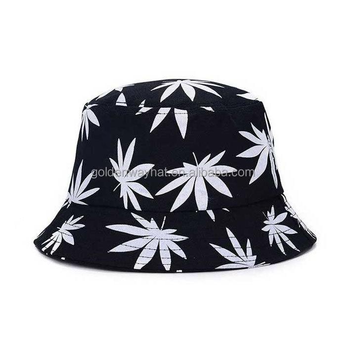 卸売カスタムコットンツイルバケット印刷された葉ロゴ漁師帽子