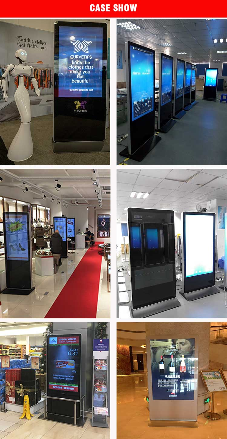 Interior 43 Polegadas Floor Standing Digital Signage Display Tela Da TV Para O Cartaz