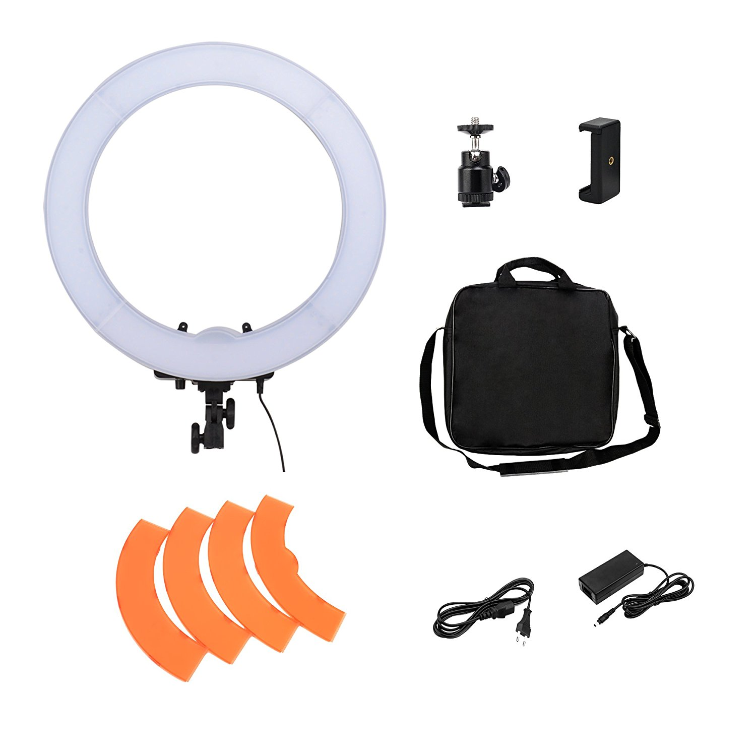 "BONFOTO 18"" 55W 5500K Dimmable LED Photography YouTube Live Anchor Fill Ring Light, Phone Clamp, Ball Head and Filter Adjustable for Makeup,Camera Smartphone Photo/Video,Portrait photography Shooting"