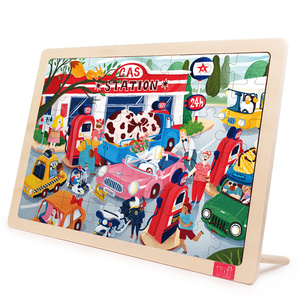 TOI Gas Station 48Pcs New Design Educational Logo Custom Wooden Toy Jigsaw Puzzles