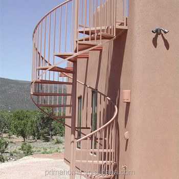 Prefab Wrought Iron Staircase Balcony Fire Escape Spiral Staircase Outdoor  Metal Stair