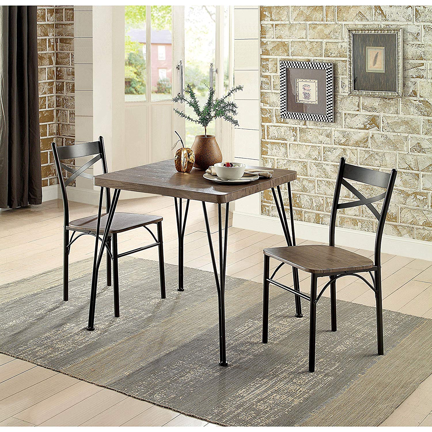 Industrial 3-Piece Dark Bronze Compact Dining Set, Includes 1 Dining Table and 2 Chairs, Space-Saving Design, Square Wood Veneer Table with Rounded Corners, Sturdy Metal Legs, Multiple Finishes
