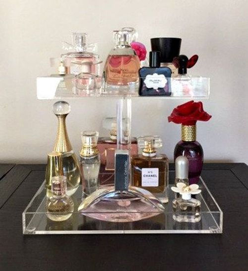 Highly transparent acrylic perfume organizer, perfume cosmetic display stand