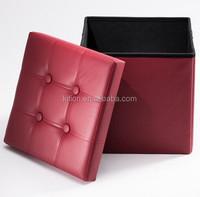 Long Faux Leather Folding Storage Ottoman Mordern Storage Ottoman Colorful Storage Ottoman