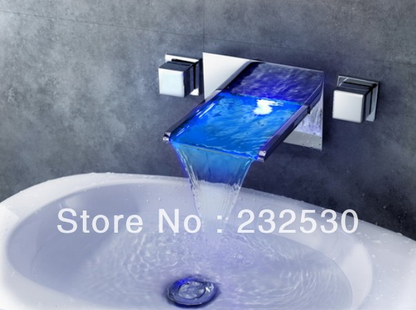 7 Faucet Finishes For Fabulous Bathrooms: New Arrived Chrome Finish Waterfall Color Changing LED