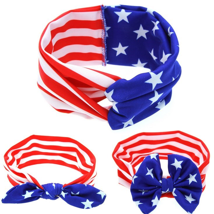 Fashion Infant Toddle Newborn Baby Kids Girls Rabbit Ears Hair Band Bow Twist Head Wrap Turban Knot Flag Headband 4th of July
