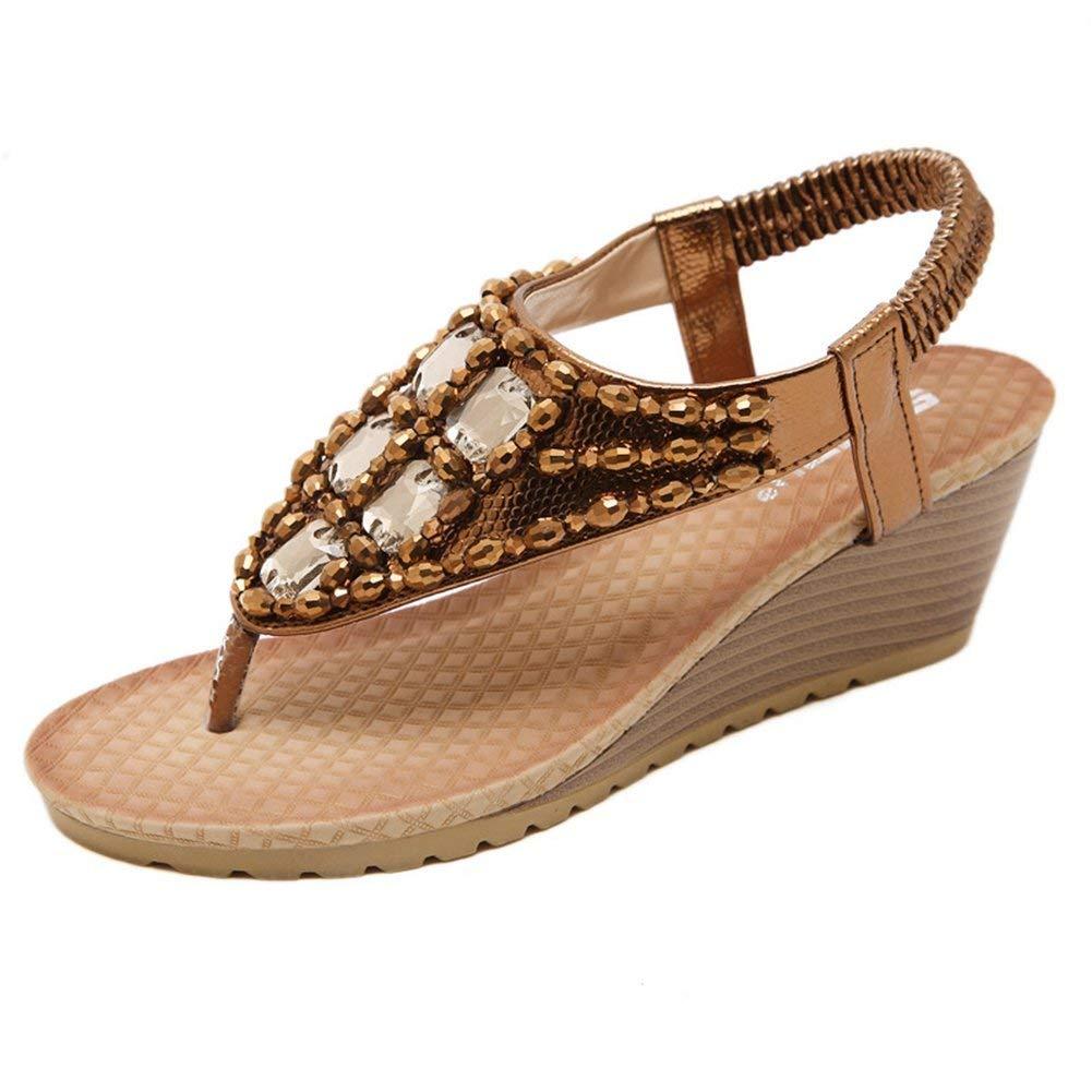 JINANLIPIN Women s Rhinestone Wedge Sandals Summer Thong Platform Beaded  Slingback Bohemian Shoes b8a271d3bc70