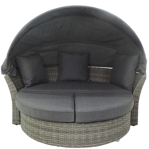 Hormel furniture with canopy waterproof round cane cheap patio outdoor rattan daybed