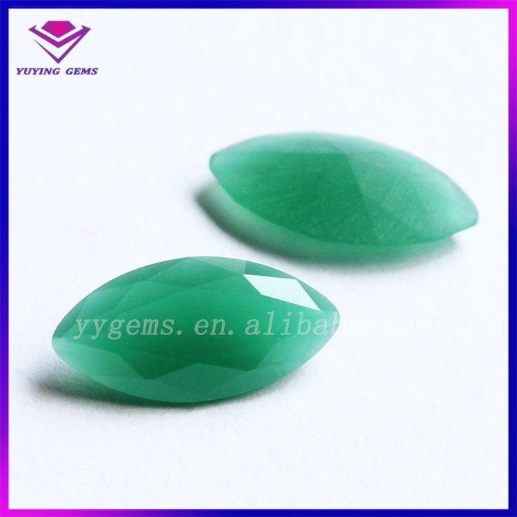 Non-transparent Imitation Jade Gemstone Green Marquise Jade Glass Stone