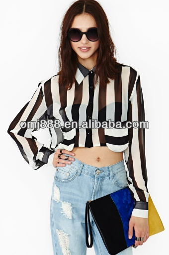 Black and white stripes chiffon long sleeve summer high waist blouse