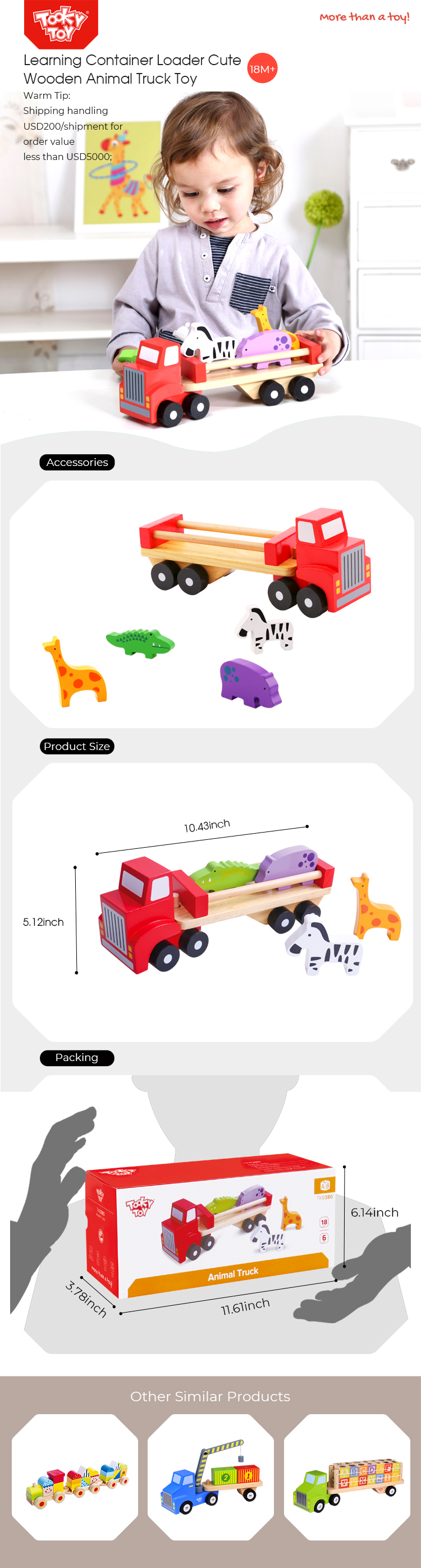 15% Fixed Discount Learning Container Loader Cute Wooden Animal Truck Toy