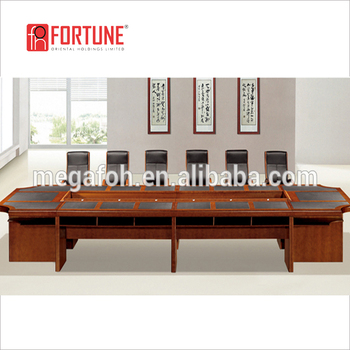 Double Layer Solid Wood Office Executive Meeting Table Boardroom Furniture (FOH C6002)